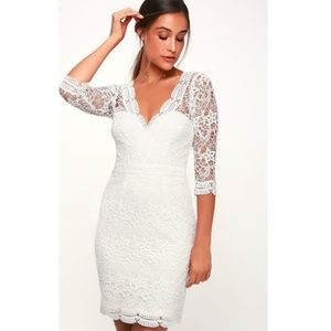 🆕️ Lulu's-Rainey White Lace Bodycon Dress